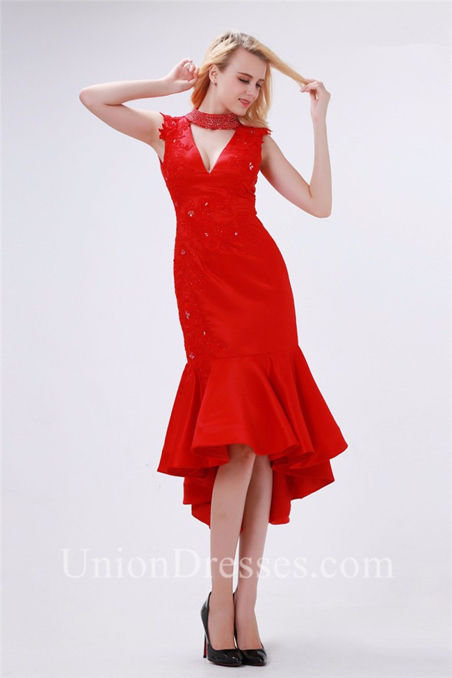 cf0f23071f4 Sexy Fitted Cutout Tea Length Red Taffeta Applique Beaded Prom Dress  lightbox moreview