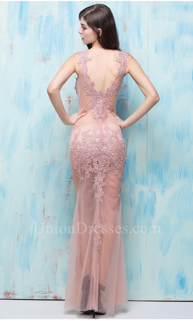 Sexy Fitted V Neck Sheer See Through Dusty Rose Tulle Lace Evening ...