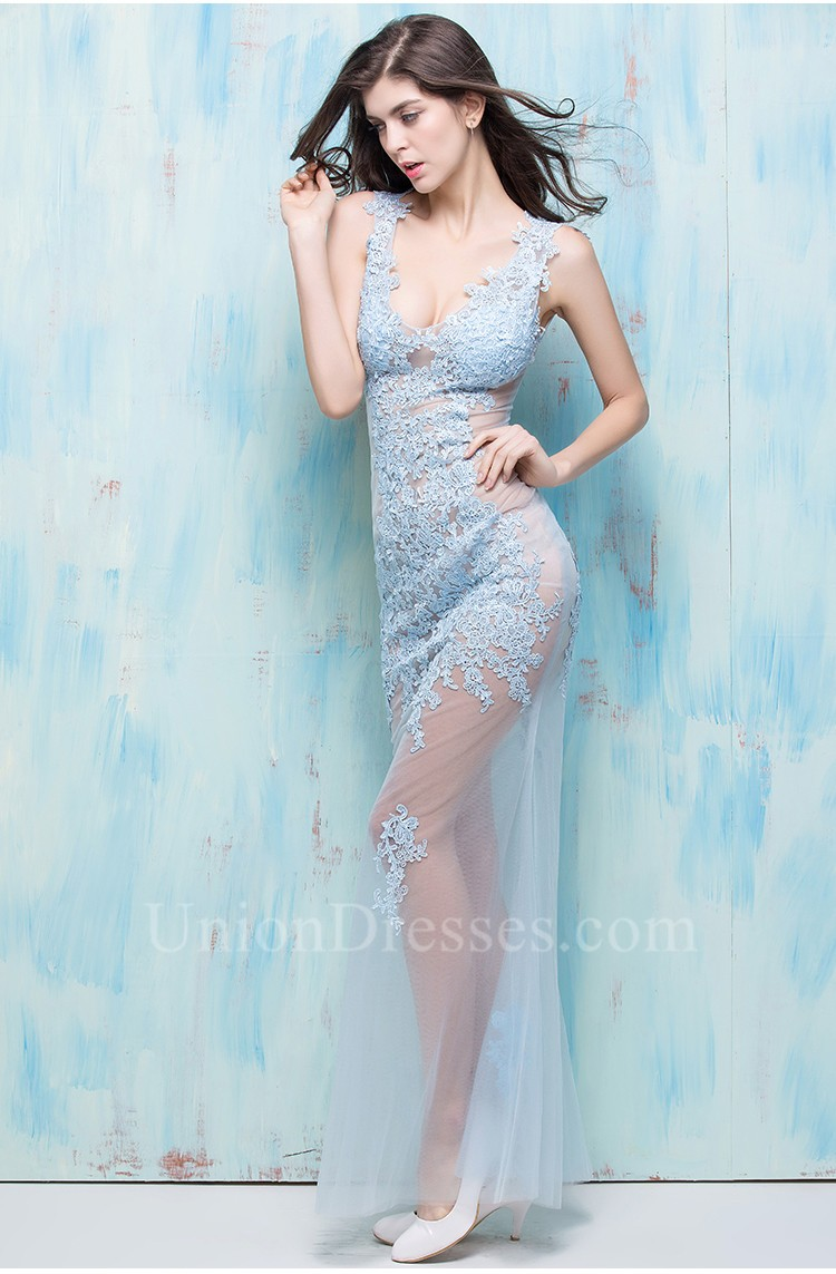 Sexy Mermaid Deep V Neck Light Blue Tulle Lace See Through Special ...