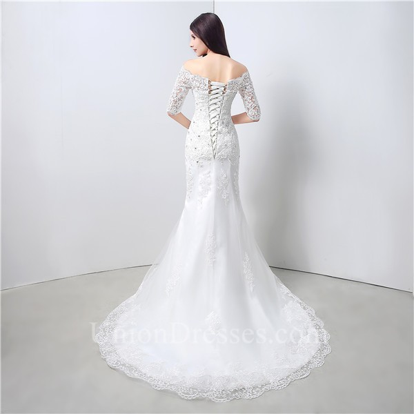 Sexy mermaid off the shoulder short sleeve lace beaded for Sexy corset wedding dress
