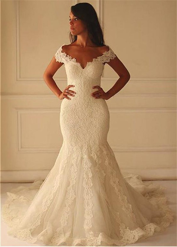 sexy mermaid off the shoulder vintage lace wedding dress