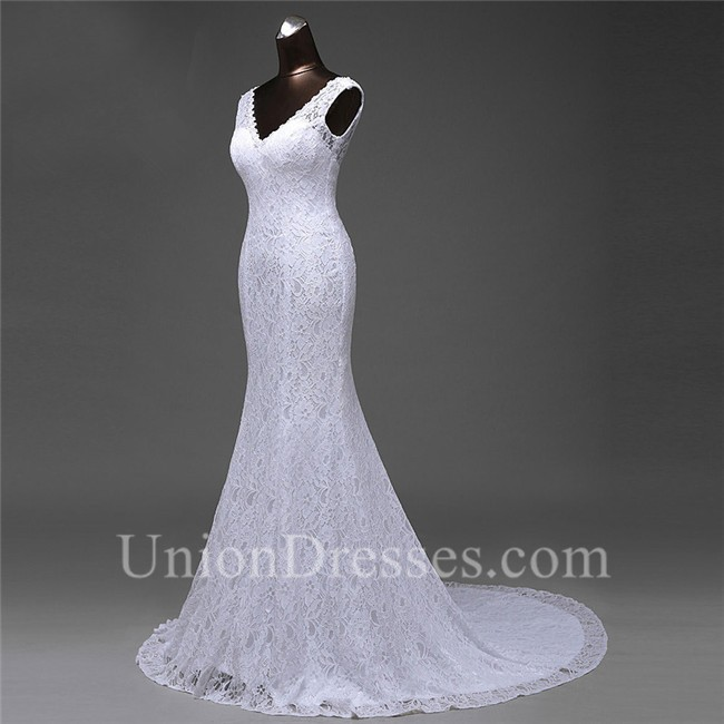 a977a329d5183 Sexy Mermaid V Neck Low Back Lace Wedding Dress Corset Back lightbox  moreview · lightbox moreview