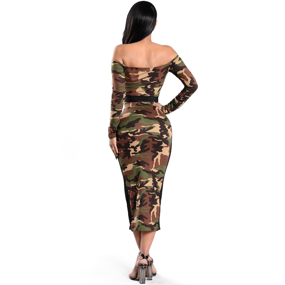 Sexy Off The Shoulder Tea Length Two Piece Women Camo Outfit Suit ...