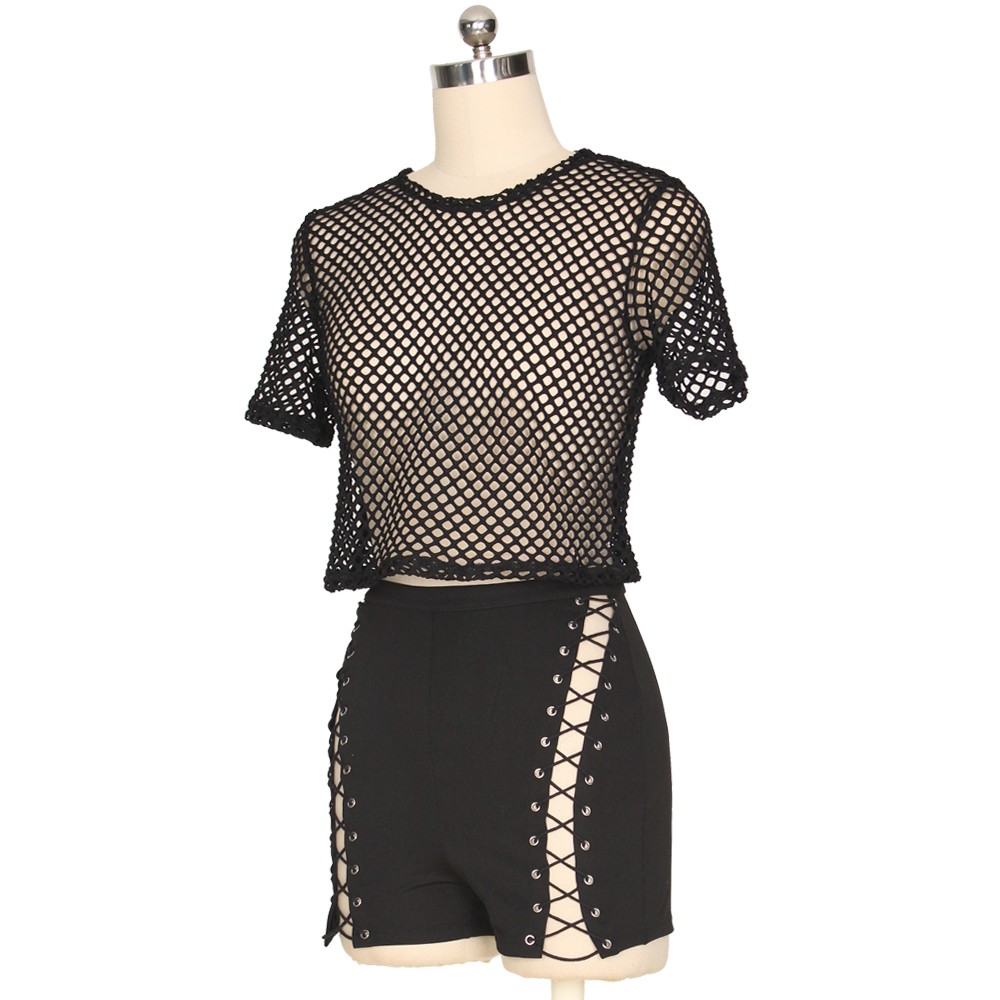 1a12e91571c Sexy Two Piece See Through Black Mesh Lace Up Hot Pants Outfits lightbox  moreview · lightbox moreview · lightbox moreview · lightbox moreview ·  lightbox ...