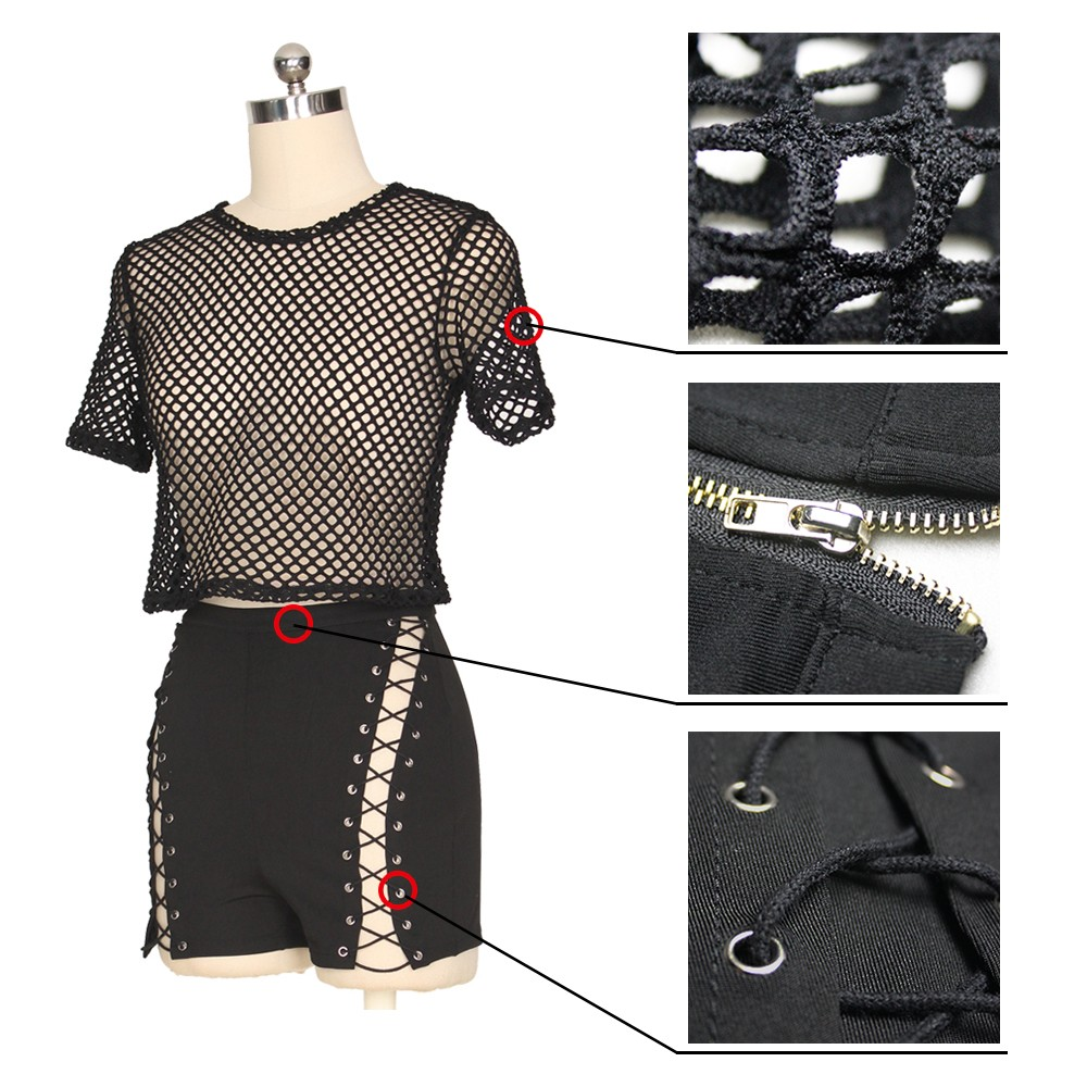 fc1ffd49750 Sexy Two Piece See Through Black Mesh Lace Up Hot Pants Outfits