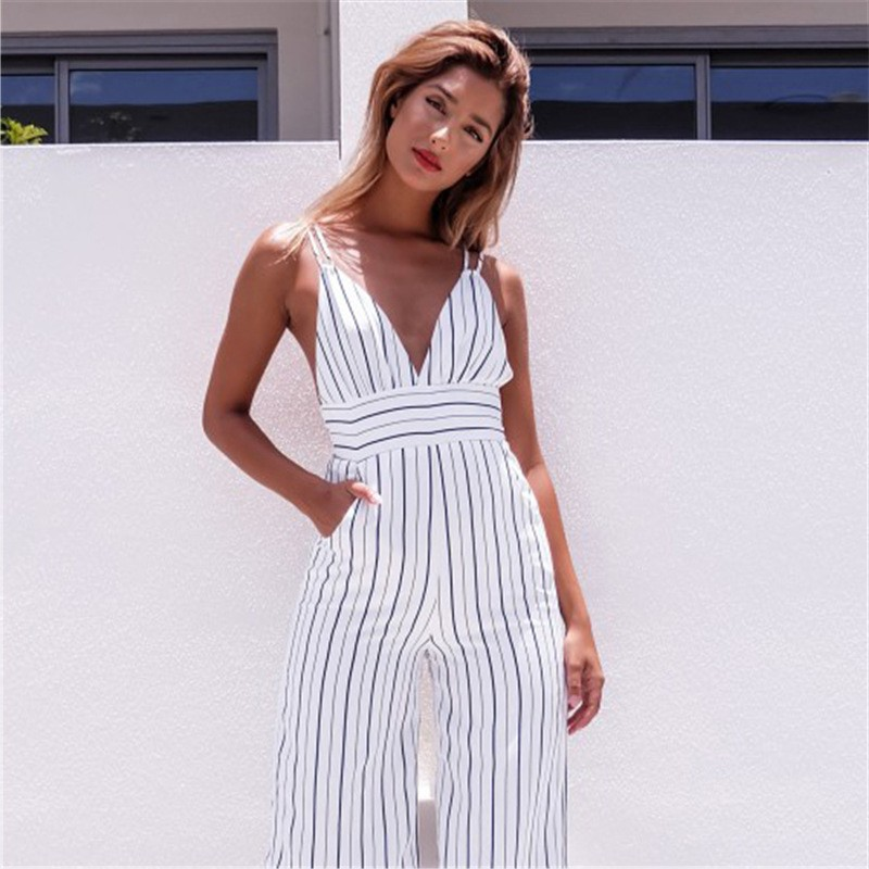 a85973311ea ... Black And White Striped Women Jumpsuit lightbox moreview · lightbox  moreview