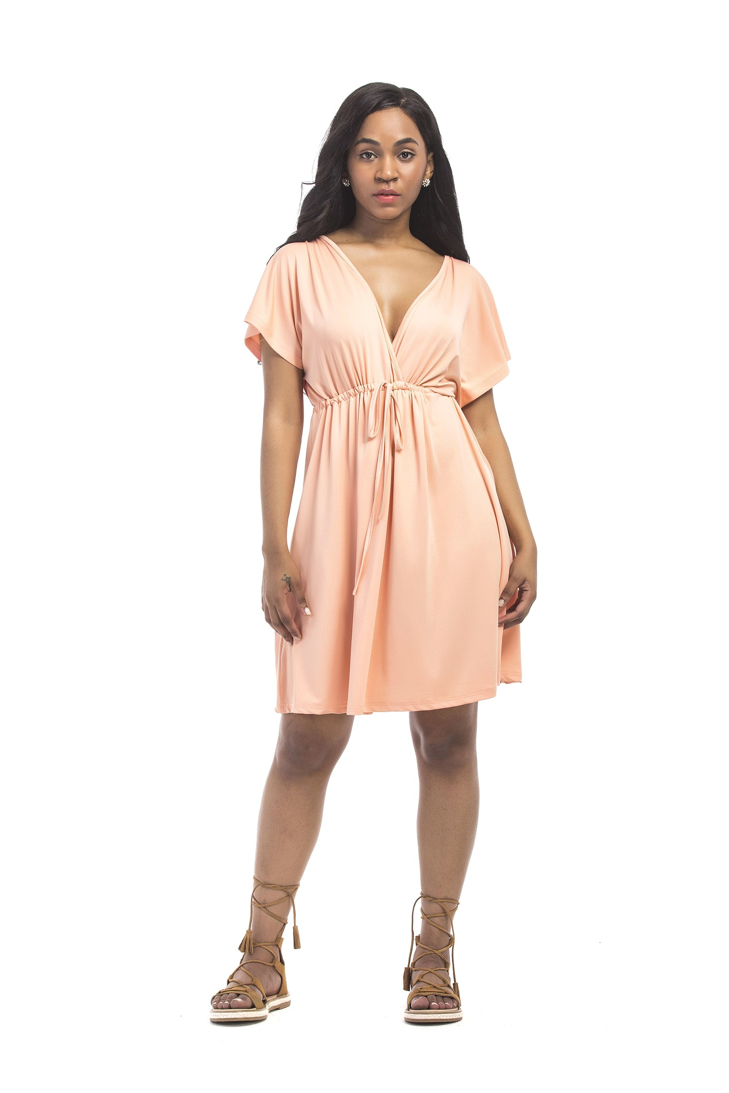 826afbf0cc80 Sexy V Neck Empire Waist Short Khaki Jersey Dress With Sleeves lightbox  moreview · lightbox moreview · lightbox moreview