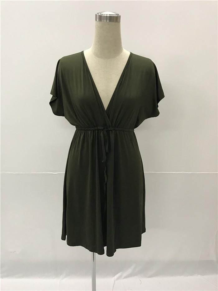 b708fdbb9349 Sexy V Neck Empire Waist Short Khaki Jersey Dress With Sleeves