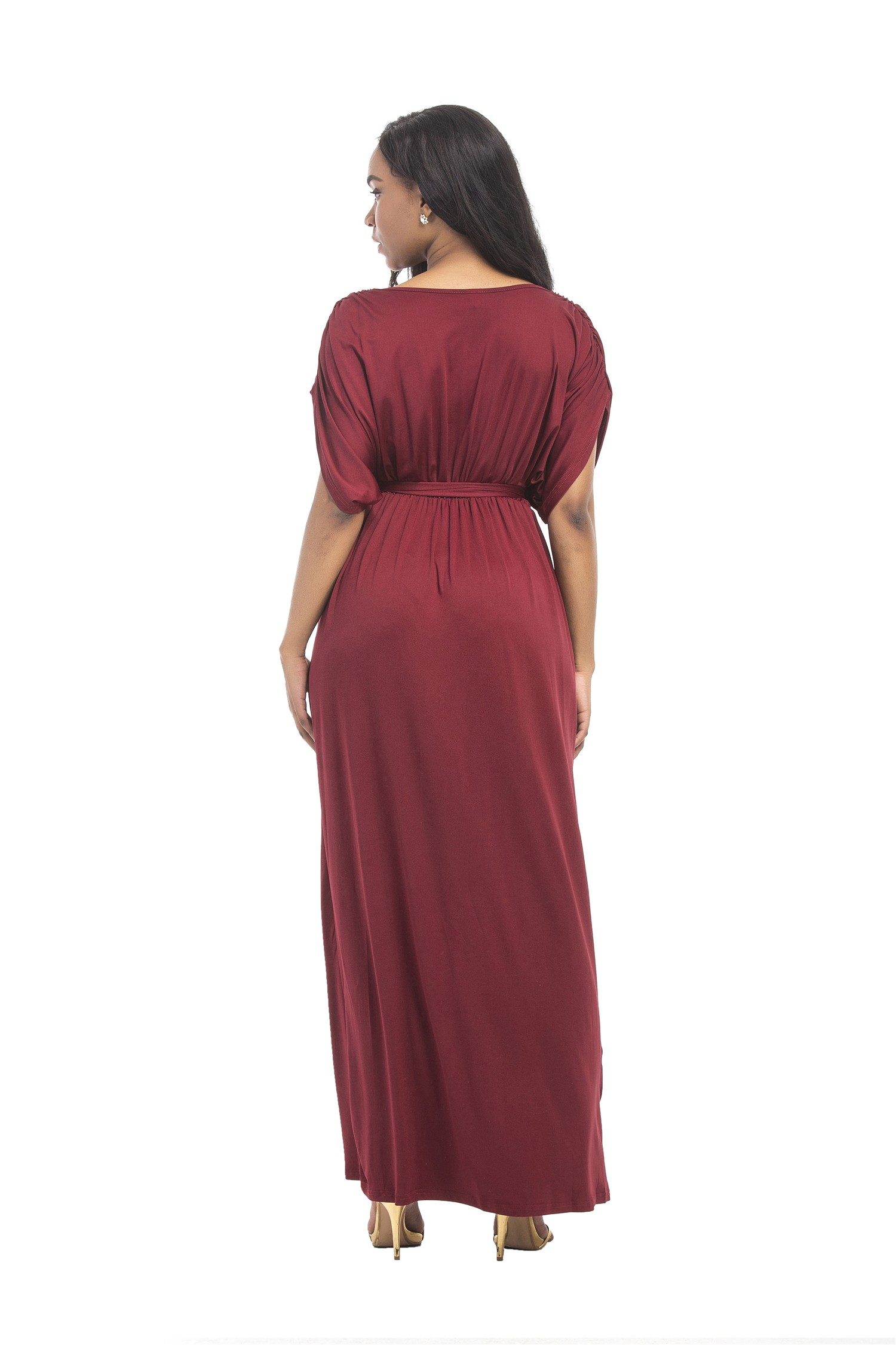 aaa09febba8e Sexy V Neck Long Burgundy Jersey Ruched Sleeve Summer Fall Dress With Sash  lightbox moreview · lightbox moreview · lightbox moreview