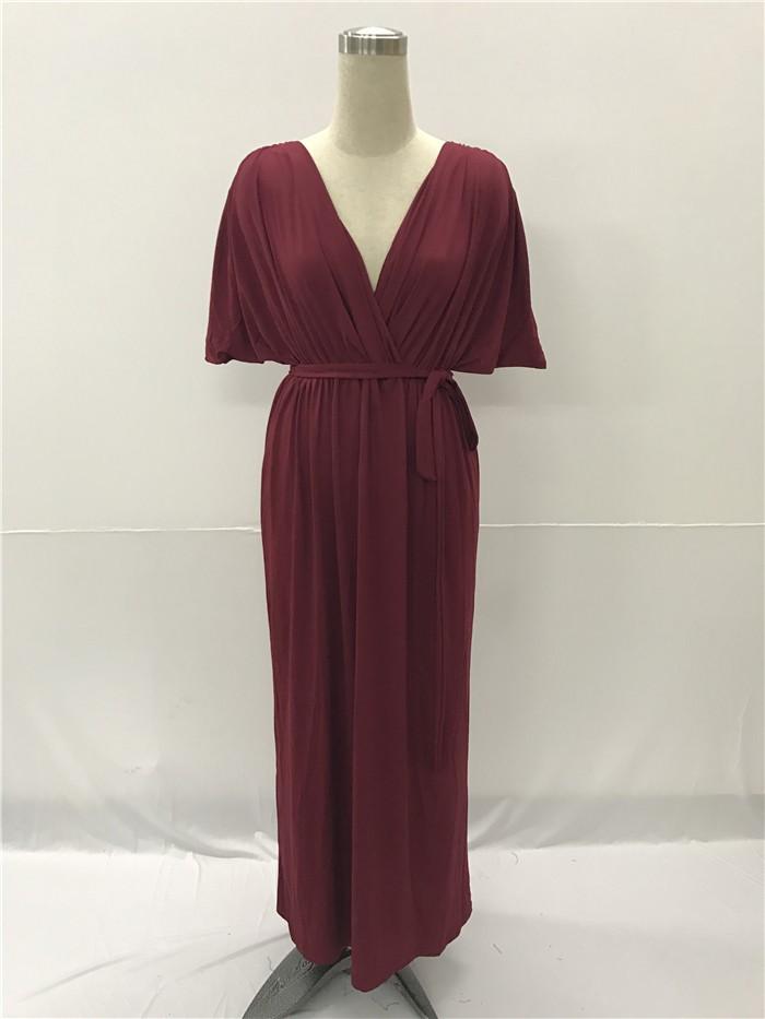 5bfa0003e5e1 Sexy V Neck Long Burgundy Jersey Ruched Sleeve Summer Fall Dress ...