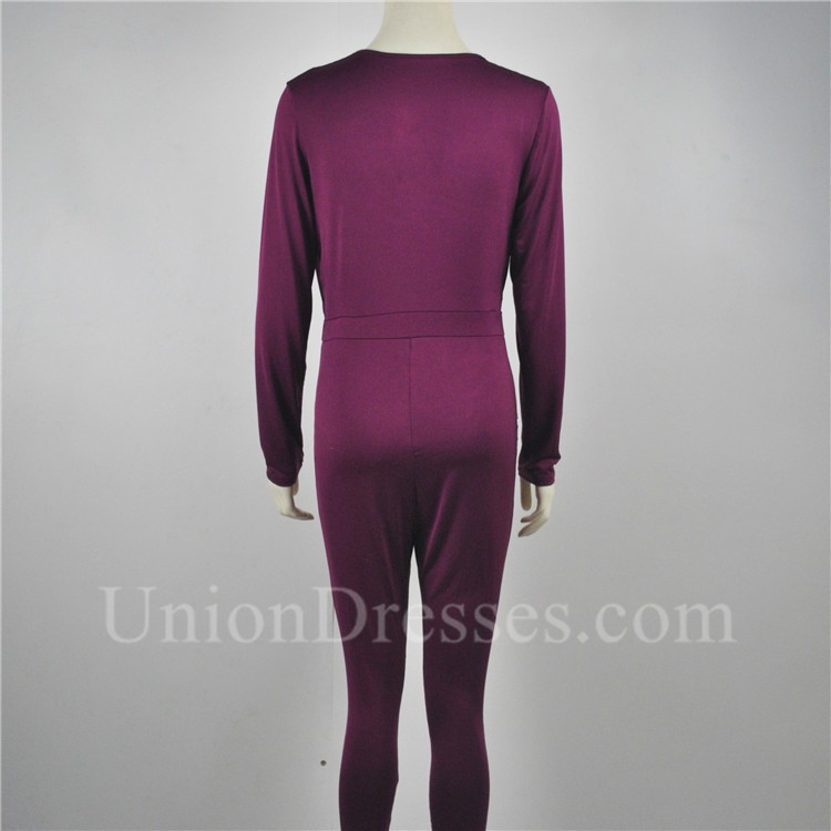 860a61b90644 Sexy V Neck Long Sleeve Casual Bodycon Burgundy Rompers Women Jumpsuit