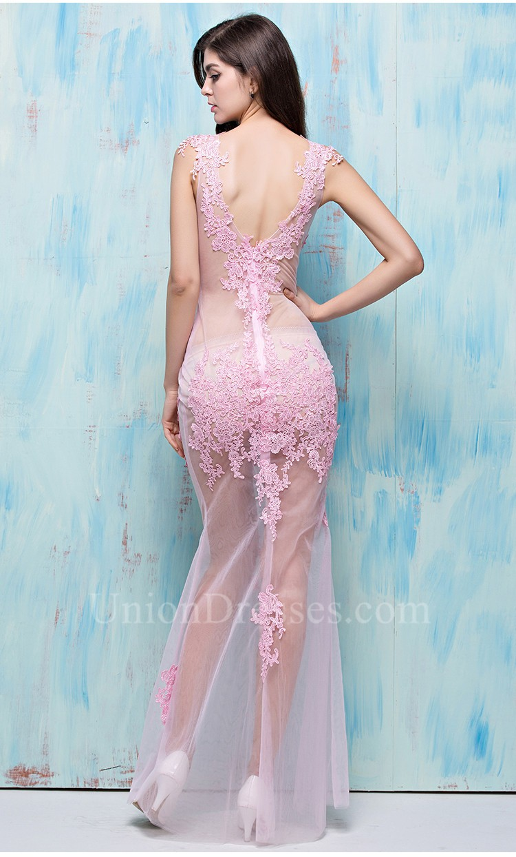 Sexy V Neck Open Back Light Pink Tulle Lace Sheer See Through ...
