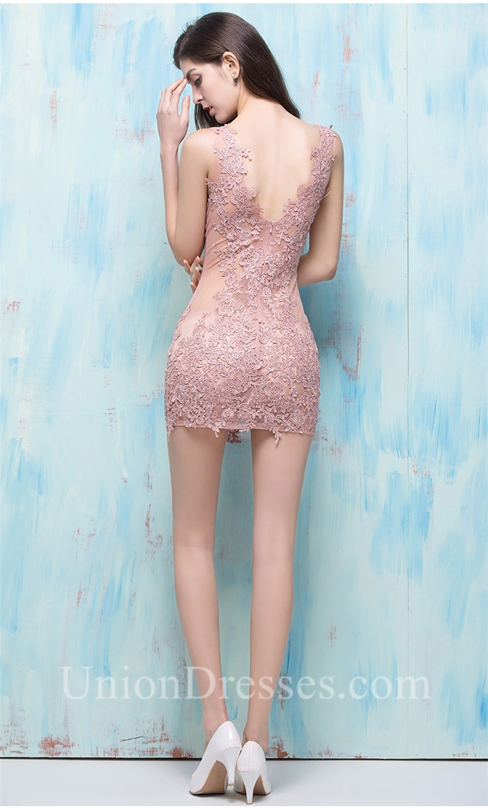 Sexy V Neck See Through Mini Dusty Rose Lace Night Out Club Prom Dress
