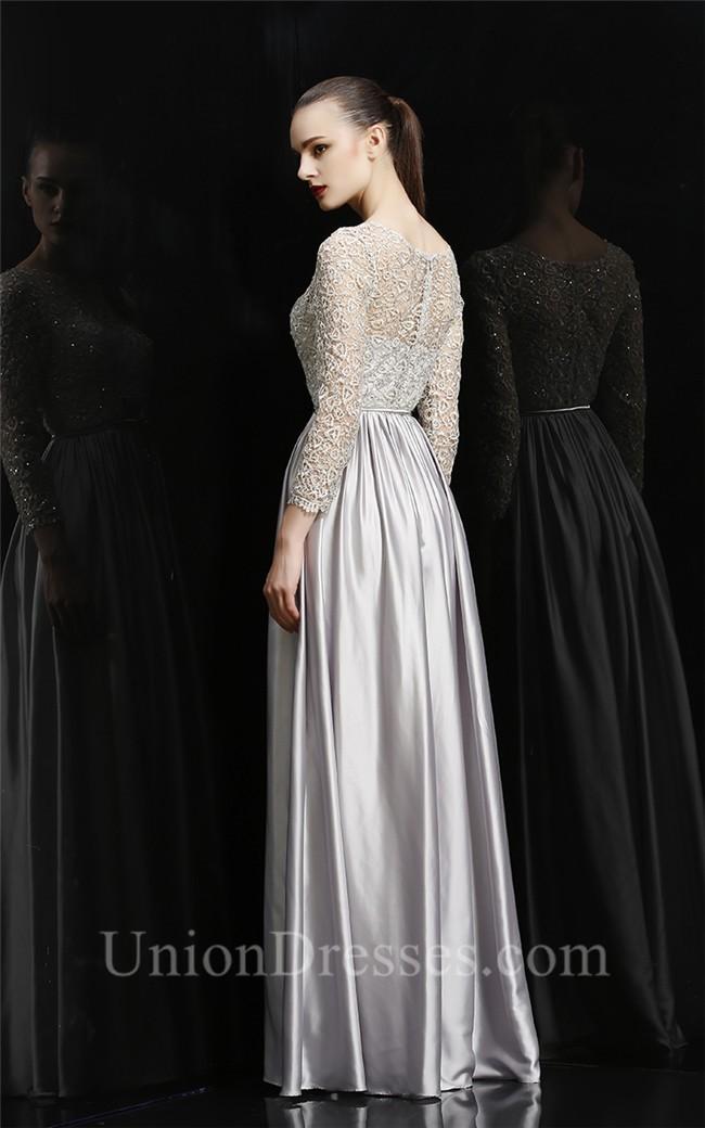 Sheath Bateau Neckline Long Silver Silk Evening Prom Dress With Lace ...