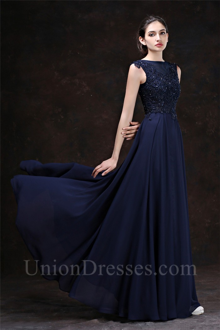 Sheath Boat Neck Keyhole Back Long Navy Blue Chiffon Lace Beaded ...