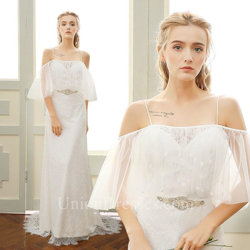 Sheath Cold Shoulder Open Back Vintage Lace Boho Wedding Dress ...