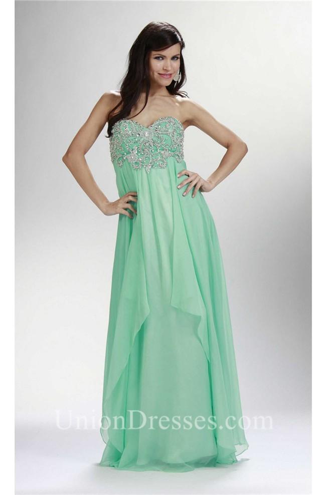 Sheath Empire Waist Long Mint Green Chiffon Beaded Prom Dress Corset ...