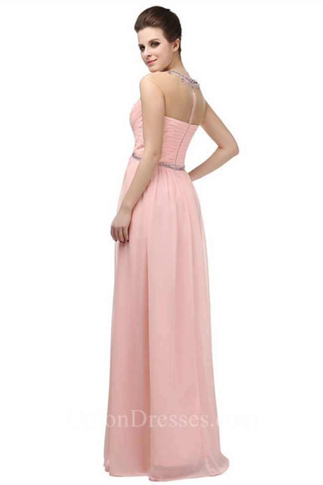 Sheath Illusion Jewel Neckline Empire Waist Long Light Pink Chiffon ...