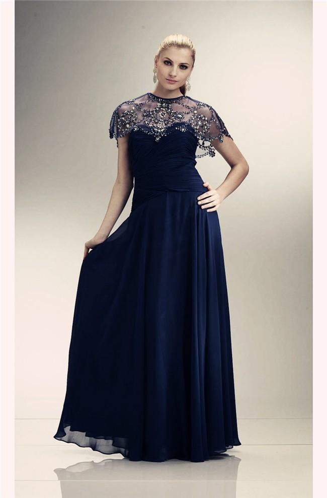 Sheath Long Navy Blue Chiffon Sparkly Jacket Evening Prom
