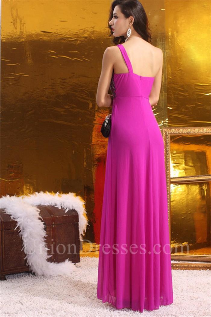 Sheath One Shoulder Empire Waist High Slit Long Hot Pink
