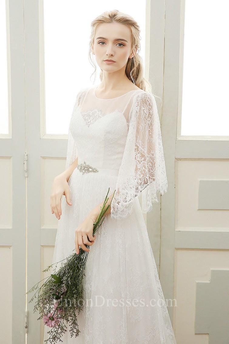 Sheath Scoop Neck Vintage Lace Boho Wedding Dress With Crystals Sash