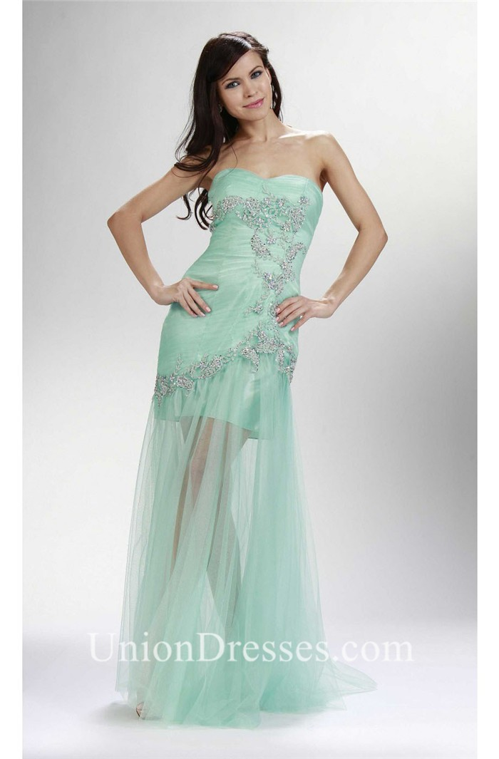 Sheath Strapless Corset Mint Green Tulle Beaded Prom Dress Sheer Skirt