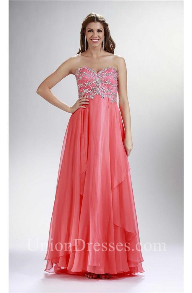 Sheath Strapless Long Coral Chiffon Beaded Prom Dress