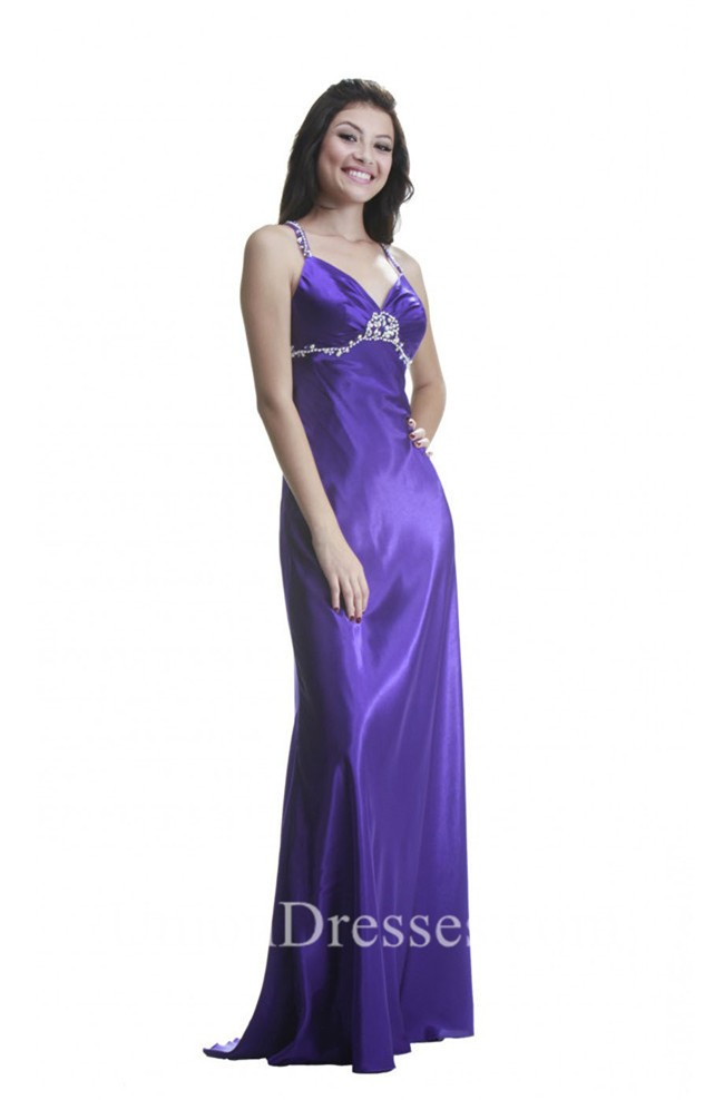 Sheath Sweetheart Long Purple Silk Beaded Prom Dress With Straps