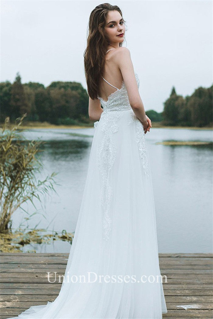 Sheath Sweetheart Low Back Spaghetti Straps Lace Tulle Beach Wedding ...