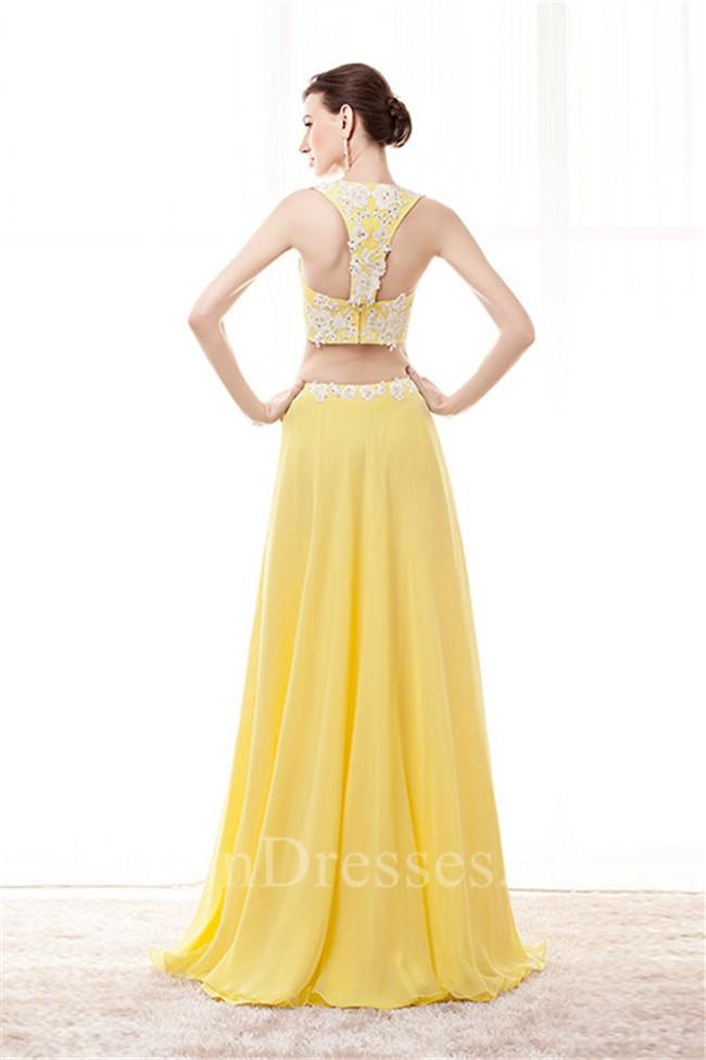 561fd4cf9539 Sheath Sweetheart Two Piece Yellow Chiffon Embroidery Beaded Prom Dress  lightbox moreview · lightbox moreview · lightbox moreview