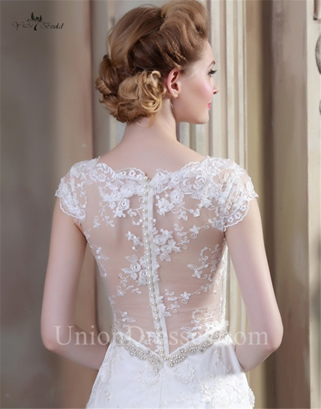 Sheath V Neck Cap Sleeve Sheer Back Lace Wedding Dress With Pearls