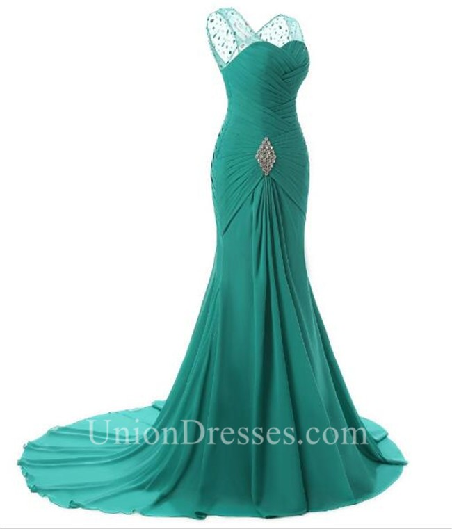 Sheath V Neck Long Jade Chiffon Ruched Evening Prom Dress With Brooch