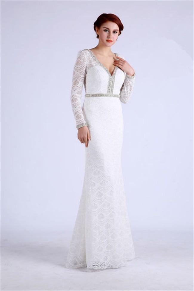 Jovani 60314 | Ivory Nude Ruffle Sleeve V-Neck Gown