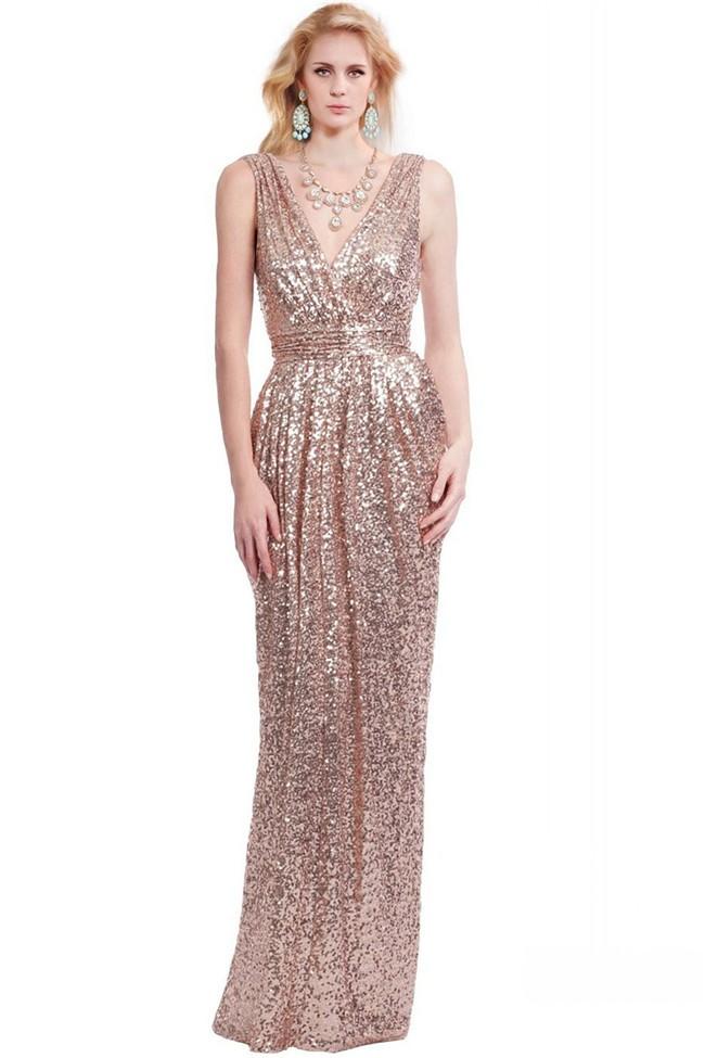 Sheath V Neck Sleeveless Nude Sequined Evening Prom Dress