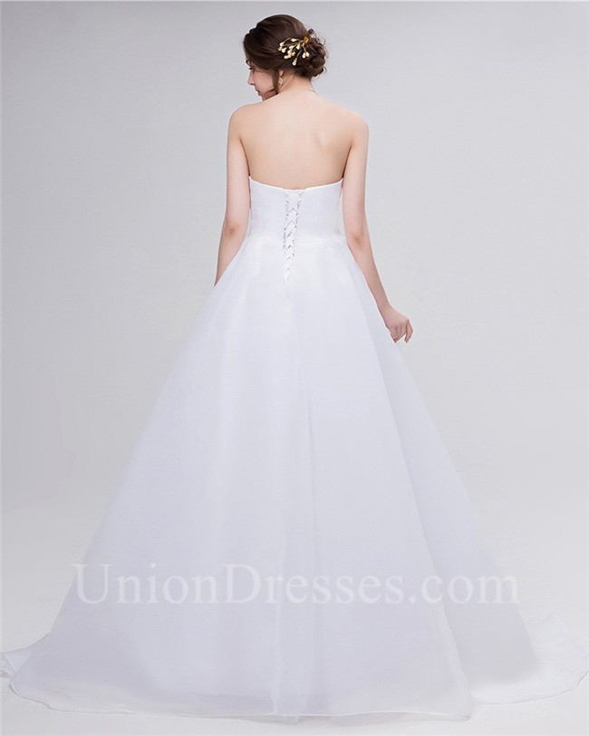 Simple a line strapless corset back organza bow wedding for No back wedding dress