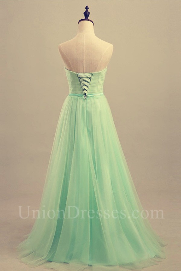 Strapless Long Mint Green Tulle Ruched Prom Dress With Sash Lightbox Moreview