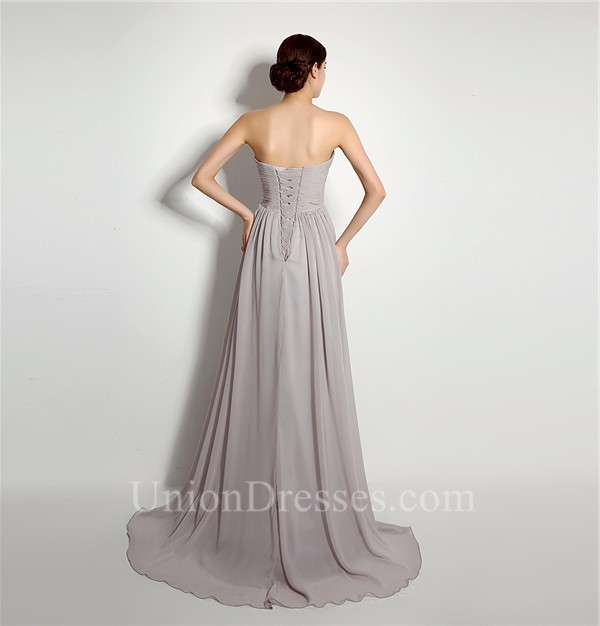 Simple a line strapless long silver chiffon ruched for Simple corset wedding dresses