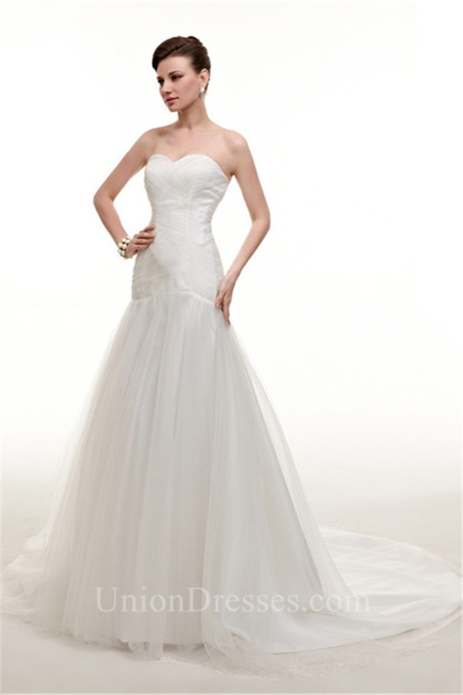 Simple Trumpet Sweetheart Tulle Ruched Wedding Dress Corset Back