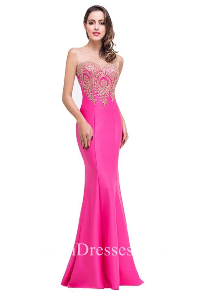 Slim Mermaid Illusion Neckline Lilac Satin Gold Applique Prom Dress