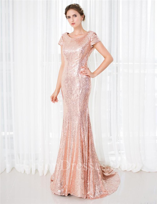 Slim Mermaid Scoop Neck Cowl Back Blush Pink Sequin Prom Dress With