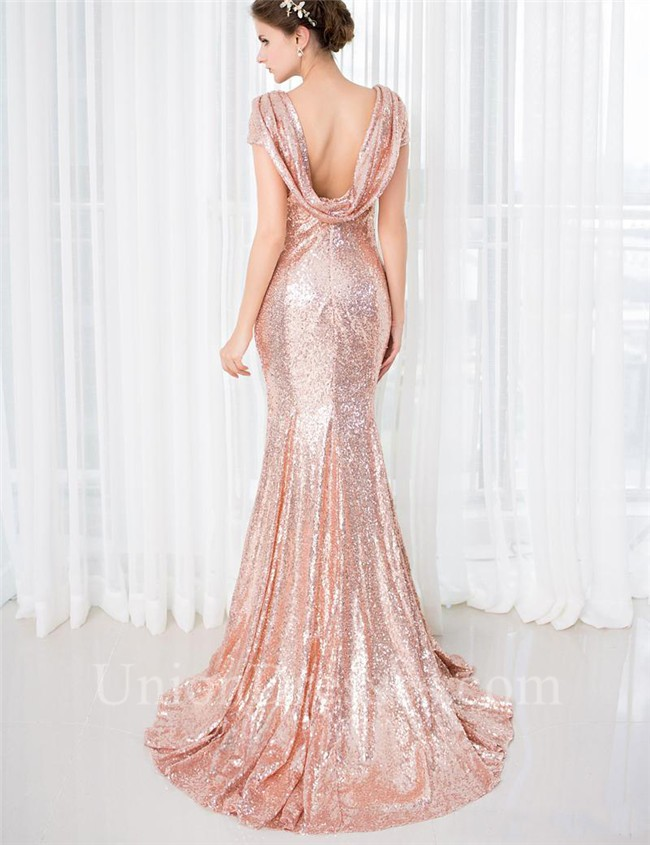 Slim Mermaid Scoop Neck Cowl Back Blush Pink Sequin Prom Dress With ...