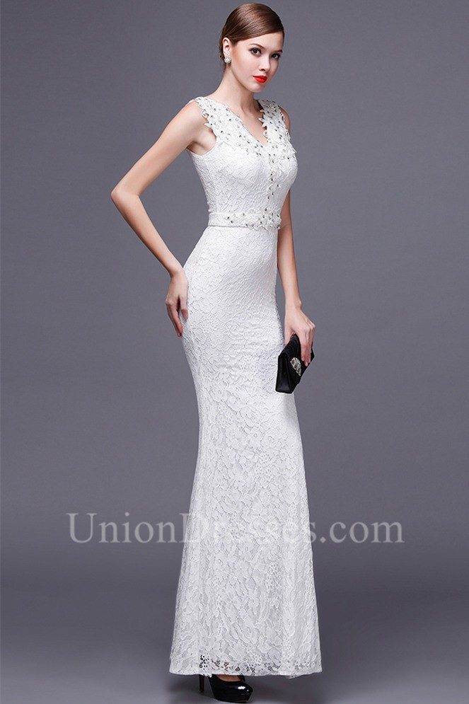 Slim Sheath V Neck White Lace Beaded Special Occasion Evening Dress ...