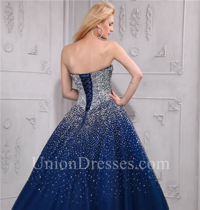 sparkly ball gown strapless navy blue tulle beaded prom dress corset
