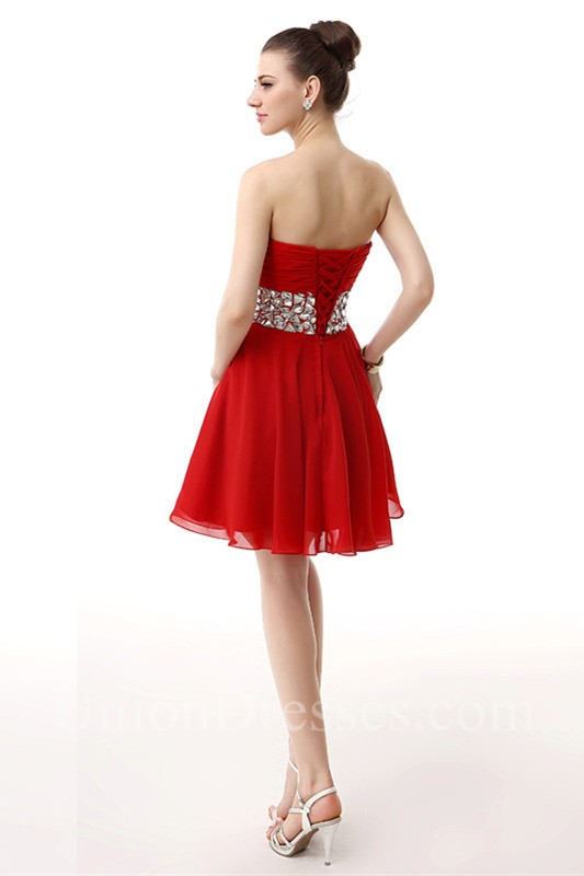 Sparkly Sweetheart Short Red Chiffon Beaded Homecoming Prom Dress ...