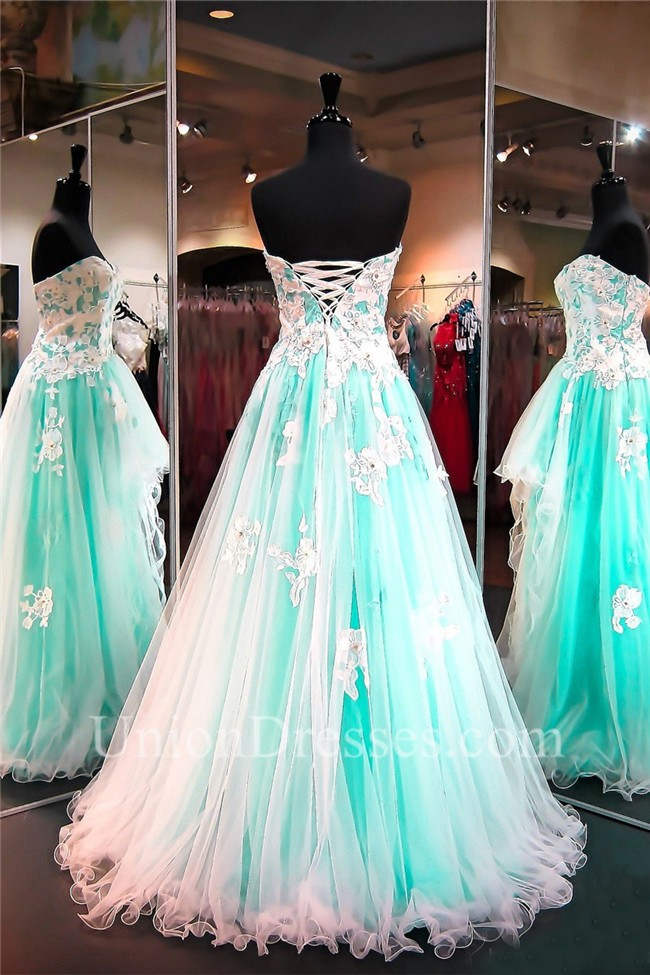 strapless high low mint green and white tulle lace prom dress