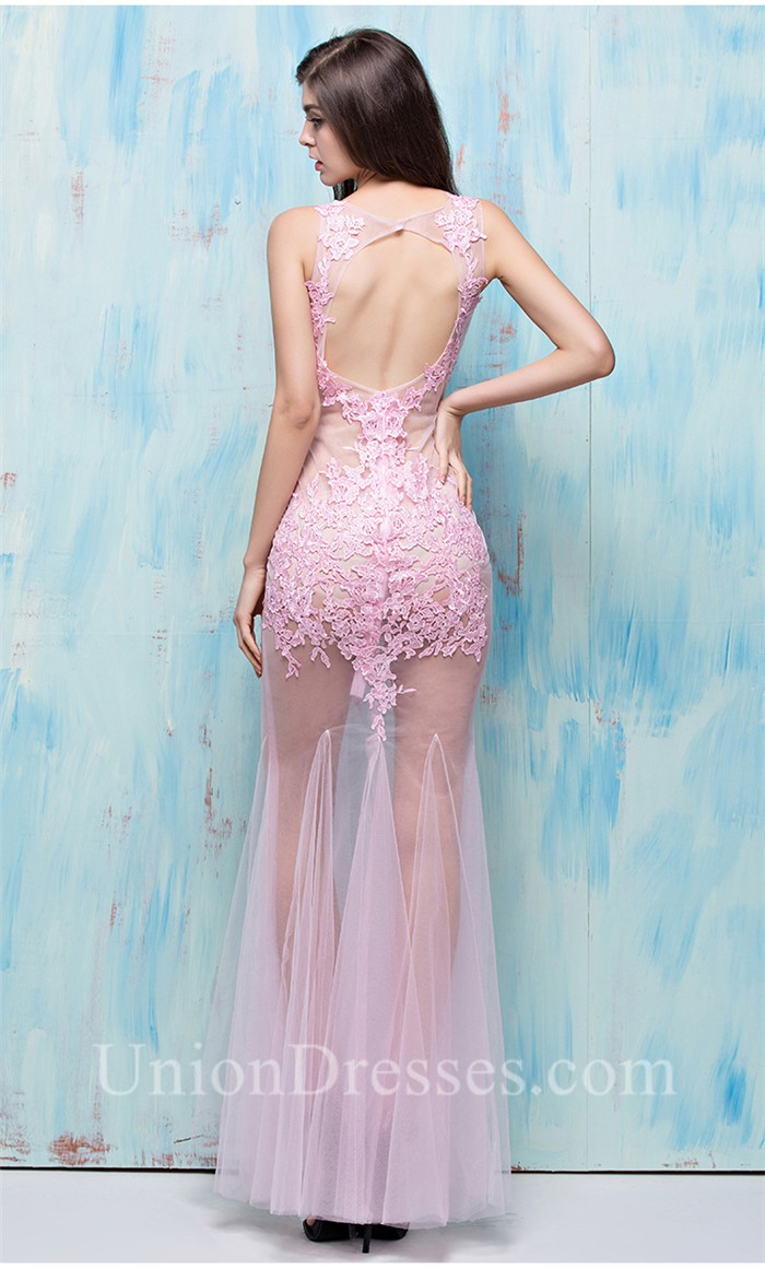 Stunning Deep V Neck Open Back See Through Light Pink Tulle ...