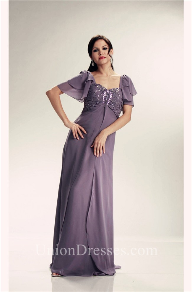 Stunning Empire Waist Gray Chiffon Beaded Mother Evening Dress With ...