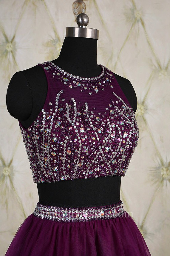 Stunning Keyhole Back Two Piece Short Purple Tulle Beaded Prom Dress