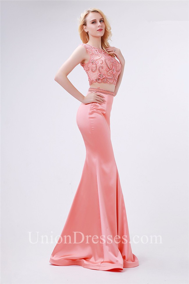 Stunning Mermaid High Neck Two Piece Coral Satin Beaded Prom Dress