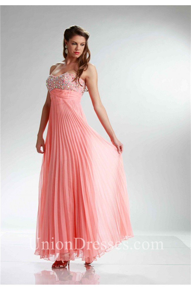Stunning Strapless Empire Waist Long Coral Chiffon Pleated Prom Dress